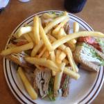 Golden Eagle Family Diner - club sandwich with fries