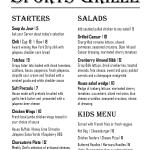 Sports Grille Menu Page 1