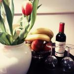 Welcome wine and beautiful tulips