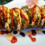 Tiger roll(tempura) Crawfish, shrimp, spicy mayo, eel sauce, hot sauce
