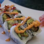 Spicy shrimp Insude:avocado, cucumber, tempura shrimp Outside: spicy mayo, hot sauce