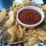 Buffalo chicken wrap and fruit with chips and salsa on the patio.   It was very good and hit the
