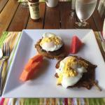 My husband's breakfast- eggs benedict with steak