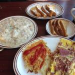 Biscuits & gravy, french toast, corned beef omelet