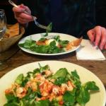 Crayfish salad and goat-cheese salad
