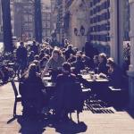 Lunch under sun outside in the street