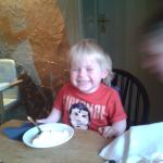 my little one enjoying the ice cream!