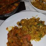 Vegetable balti with mushroom rice.