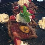 The chocolate waffles and the mango monitor