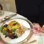Salmon omelette with salad and potatoes with fresh herbs from her garden
