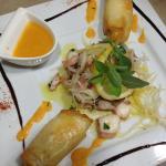 Croustillant de lieu jaune et sa salade de poulpe