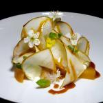 Pear, sour cream, salty caramel