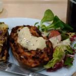My burnt loaded jacket potato skins, which I covered in Salad Cream to make them palatable.