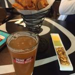 Complimentary appitizers and beer