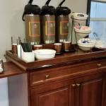 Coffee cart was located in the hall for all-day drinks (if you like coffee, it's great)