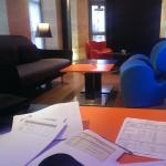 Working from the lobby while waiting for my room to be ready