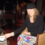 Patty enjoys a spot of tea in the lounge