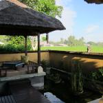 Floating dining pavilion is raised for uniterrupted views of the rice paddies