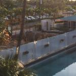 Close up of construction next to pool