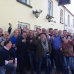 The group outside the Ring O Bells, photo kindly taken by the lady from the bar, Flo