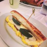 """""""Salsiccia"""" soft cooked eggs, spicy house sausage, provolone, fried sage. $6.80"""