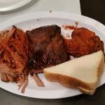 Sampler platter - tasty.  The ribs are the best.
