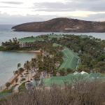 View of resort from top of hill. Coco's beach on left, Mamora beach on right