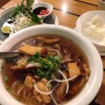Incredible vegan pho! A few types of soya meat, loads of tofu and delicious umami broth. So, so
