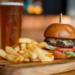 Wagyu beef burger and chips