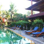 The sun loungers are all set and the sun is on its way up for another day of relaxation by the p