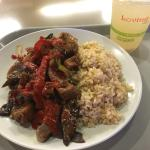 Organic eggplant with spicy tofu & brown rice