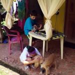 Our children asked the owner if they could play with her pets. She said yes:-). Friendly creatur