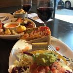 Quinoa crunch wrap, Baja tacos, roasted veggies and vegan red wine