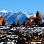 Arches NP with View of La Sal Mtns