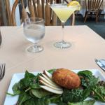 warm spinach salad and goat cheese fritter