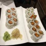 uramaki spicy salmon, tempura prawn and teryaki salmon