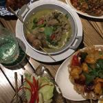 Delicious food, green beef curry, pomelo salad, chicken cashew nuts and more