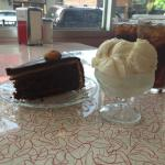 Our chocolate almond apricot gateau and MASSIVE scoop of ice cream!