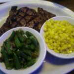 10oz Ribeye With Sides Of Green Beans & Corn.