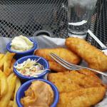 Fish and chips with Old Bay tartar