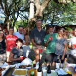Our group with Salt Lick BBQ takeout - a great dinner under the oaks at Hillside Acres.