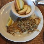 Pecan crusted cat fish with apple slices