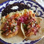 Baja Tacos (Black Drum), with rice and black beans.