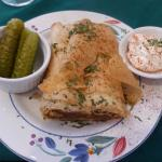 Delicious beef strudel with flaky crust