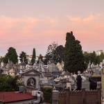 Cemetery where Eva Perron is Buried viewed from our room at dusk