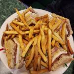 The club sandwich was huge.