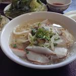 #21 seafood and bbq pork egg noodle soup