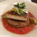 Ling cod on a bed of coconut rice imbued with meyer lemon