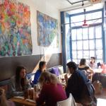 Had lots of great impressionist/abstract paintions and huge winow that flooded the cafe with lig