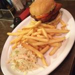 Burger and fries with coleslaw at Bungalows